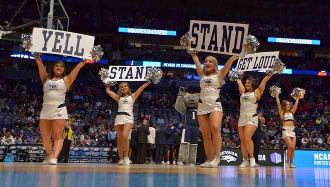 Mar 18, 2018; Nashville, TN, USA; The Nevada Wolf Pack cheerleaders perform prior to the game against the Cincinnati Bearcats in the second round of the 2018 NCAA Tournament at Bridgestone Arena. Mandatory Credit: Jim Brown-USA TODAY Sports