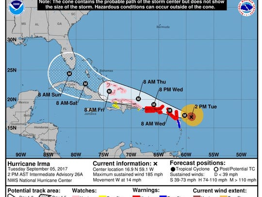 The National Hurricane Center's 2 p.m. update on Hurricane Irma on Tuesday, Sept. 5, 2017.
