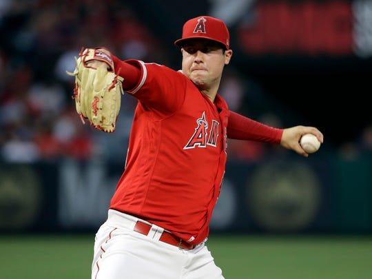 FILE - In this June 29, 2019, file photo, Los Angeles Angels starting pitcher Tyler Skaggs throws to the Oakland Athletics during a baseball game in Anaheim, Calif. Skaggs died from a toxic mix of the powerful painkillers fentanyl and oxycodone along with alcohol in an accidental overdose, a medical examiner in Texas ruled in a report released Friday, Aug. 30, 2019. (AP Photo/Marcio Jose Sanchez, File)