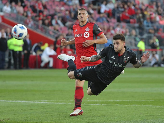 D.C. United's Paul Arriola scores a goal in the first