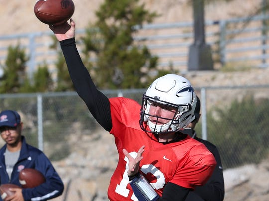 UTEP quarterback Ryan Metz during a Nov. 1 practice at Glory Field.