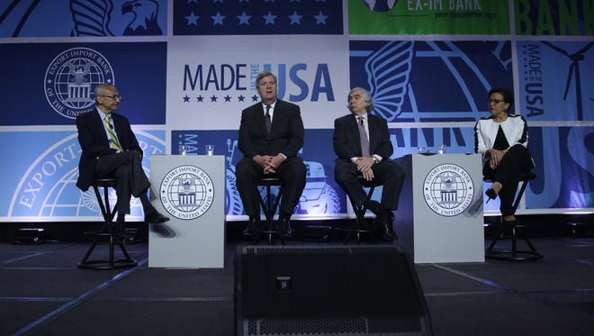 From left, John Podesta, counselor to President Obama, U.S. Agriculture Secretary Tom Vilsack, Energy Secretary Ernest Moniz and Commerce Secretary Penny Pritzker at the annual conference of the Export-Import Bank on April 25 in Washington.