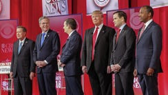 Republican presidential candidates on the debate stage