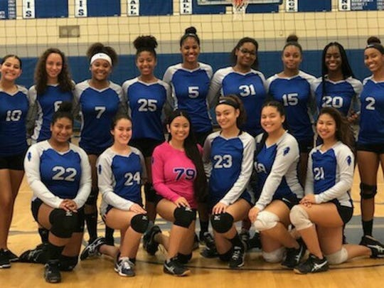 Teaneck girls volleyball: top (from left) coach Susie