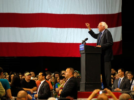 Bernie Sanders addresses the crowd during a campaign