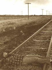 Cecil Bothwell on train tracks in Chino Valley, Arizona,