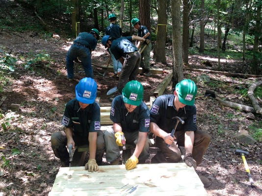 CTNCNCYCC Triangle Crew building a trail with board walks at Jordan Lake .16.jpg