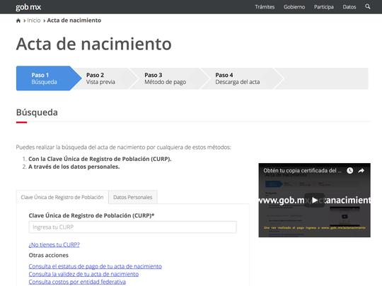 "Programa ""Soy México, tu acta de nacimiento en línea"""