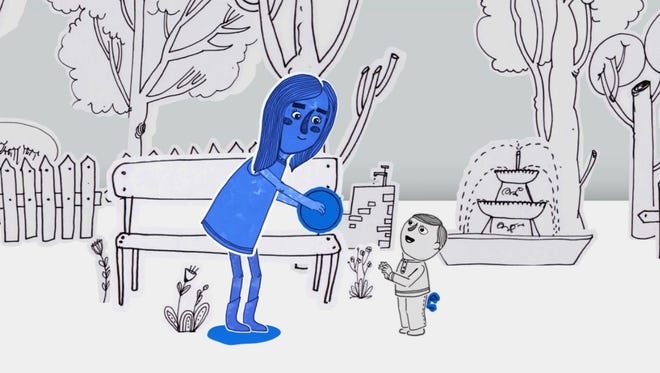 """A still from the animated film """"Blue,"""" by Maryam Farahzadi, about the struggle of being different.  The film is part of the 2017 Fast Forward Film Festival."""
