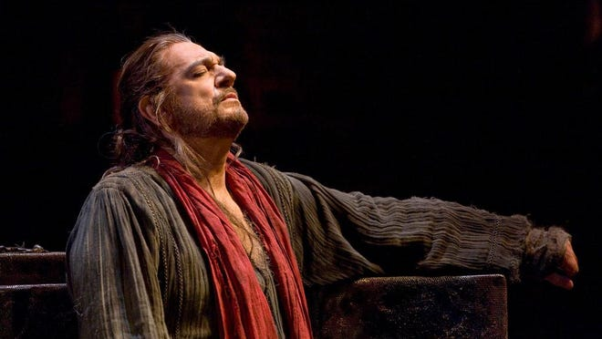 "The legendary baritone Plácido Domingo is the star of the show as King Nebuchadnezzar during The Metropolitan Opera's live broadcast of Verdi's ""Nabucco."""