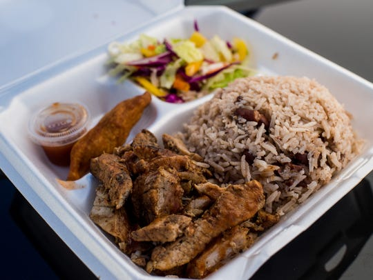 The Jerk Pork Plate is plated for lunch during the