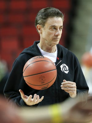 U of L head coach Rick Pitino conducts practice at the KeyArena in Seattle ahead of their matchup with UC Irvine in the second round of this year's NCAA tournament.