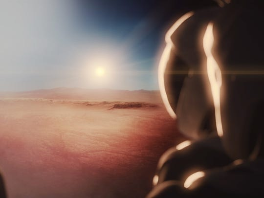 SpaceX concept image of people landing on Mars.