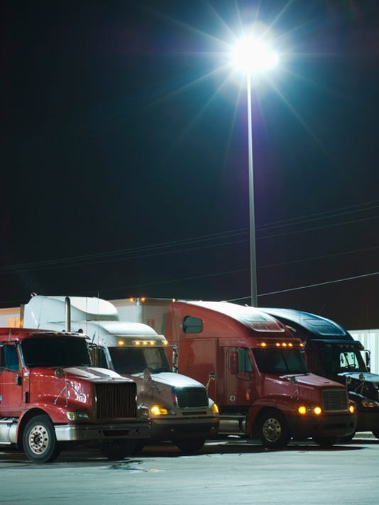 Semi-trucks at night