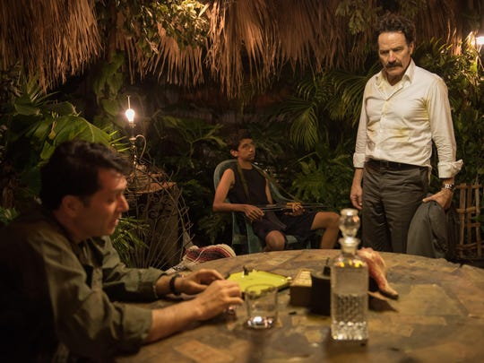 """Carsten Hayes stars as Rudy Ambrecht, unknown and Bryan Cranston as undercover U.S. Customs agent Robert Mazur in """"The Infiltrator."""""""