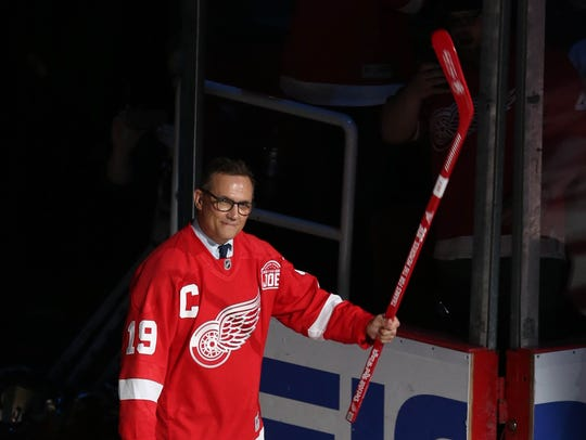 Former Red Wings captain Steve Yzerman is introduced