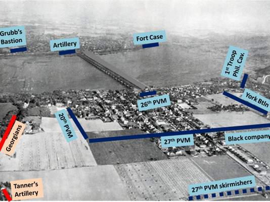1930s aerial view of Wrightsville showing the June 28, 1863, defensive positions of the motley force of Union defenders