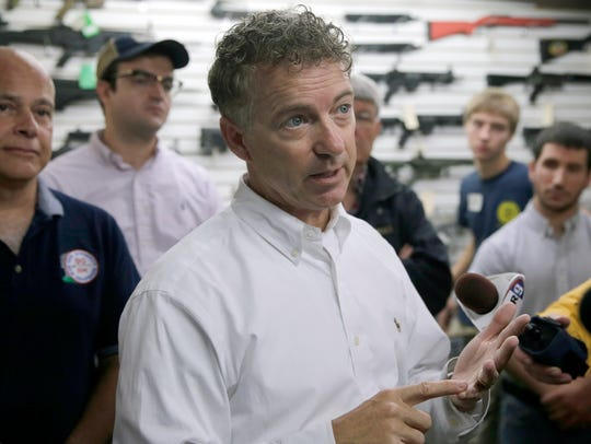 Sen. Rand Paul, R-Ky., speaks during a campaign stop