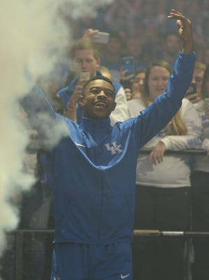 Tyler Ulis is introduced during the University of Kentucky Big Blue Madness at Rupp Arena in Lexington, Ky., on Friday, October 16, 2015. Photo by Mike Weaver