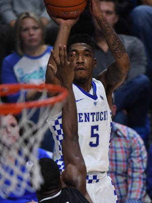 UK's Malik Monk Shoots a three pointer during the University of Kentucky basketball game against South Carolina at Rupp Arena in Lexington, KY on Saturday, January 21, 2017.