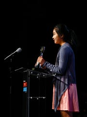Fairfield's Anatta Charoenkul accepts the girls tennis award during the 2017 Des Moines Register Sports Awards on Saturday, June 24, 2017 in Des Moines.