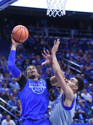 UK forward PJ Washington goes up with the ball during the University of Kentucky mens basketball Blue-White scrimmage in Lexington, Kentucky, on Friday, Oct. 20, 2017.