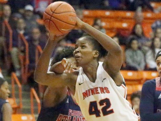 UTEP's Tamara Seda drives to the basket against Florida Atlantic Thursday night.