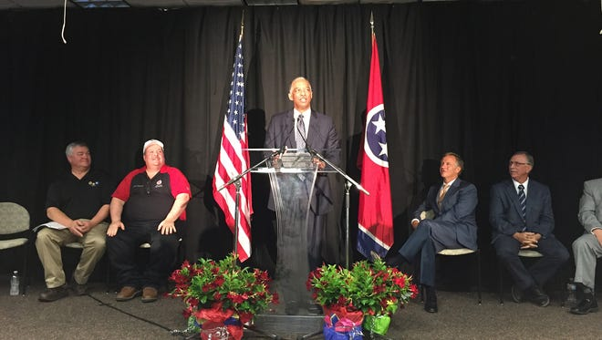 Arvin Jones, General Motors manufacturing manager, announces Wednesday, April 27, 2016, plans to pour $788.7 million in new investment into its Spring Hill, Tenn. plant. The move is expected to create hundreds of jobs at the Middle Tennessee plant.