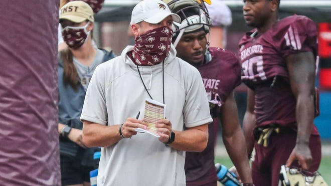 """""""When you look at the stats and you look at the tape, we shoot ourselves in the foot with self-inflicted wounds on things that we can correct,"""" Texas State coach Jake Spavital said about his 1-8 Bobcats. """"It's fixable. We need to be on that constant pursuit of making sure that we're correcting mistakes."""""""