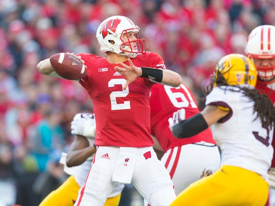 Wisconsin quarterback Joel Stave throws a pass against