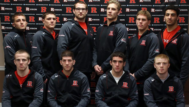 Rutgers wrestlers, front row L to R, Tyson Dippery, Anthony Ashnault, Anthony Giraldo and Sean McCabe, back row L to R, Richie Lewis, Anthony Perrotti, Billy Smith, Hayden Hrymack, Phillip Bakuckas, and Nicholas Gravina, Monday, March 14, 2016, at the College Avenue Gym in New Brunswick.