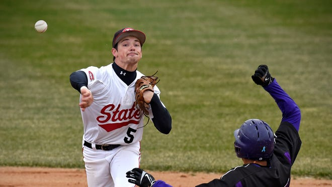 Judd Davis turns a double play at second base during Wednesday's game against Minnesota State-Mankato at Joe Faber Field in St. Cloud.