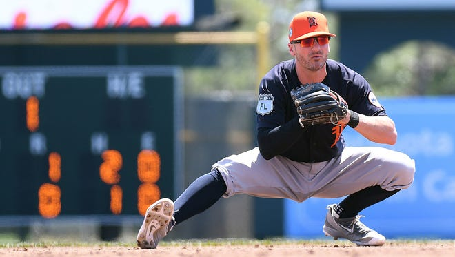 Detroit Tigers infielder Brendan Ryan stretches in between batters in the second inning against the Baltimore Orioles on March 30, 2017.