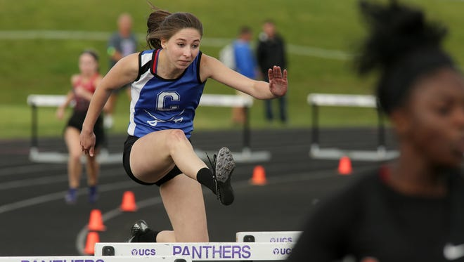 Chillicothe junior Abby Sullivan competes in the 300 hurdles Wednesday during the Division I regional track meet.