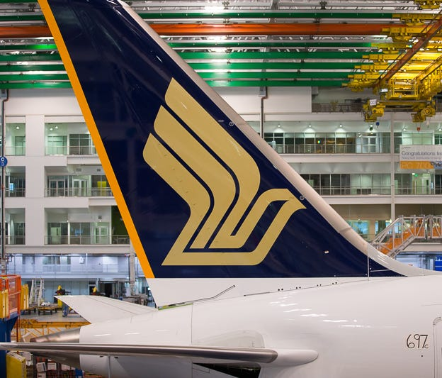 A Boeing 787-10 destined for Singapore Airlines rests on the final assembly floor of Boeing's Charleston, S.C., factory on March 25, 2018.