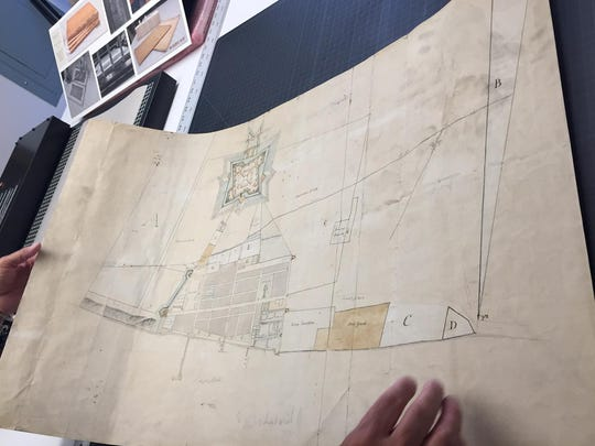 "The map, ""Rough sketch of the King's Domain at Detroit,"" was hand-drawn and hand-colored."
