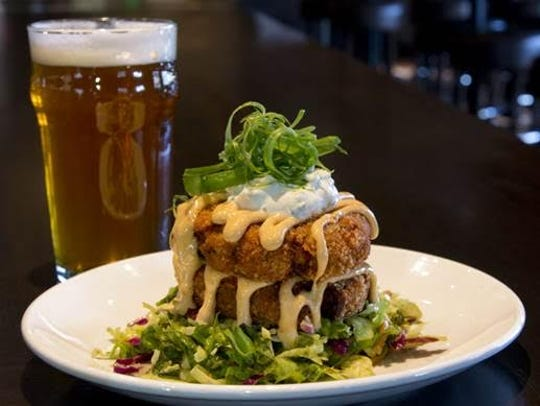 The bacon cheddar potato cakes at Thirsty Lion Pub