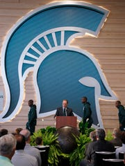 Michigan State coach Tom Izzo speaks during the dedication ceremony for the Gilbert Pavilion and Tom Izzo Hall of History inside Michigan State's Breslin Student Events Center, Friday, Oct. 20, 2017, in East Lansing, Mich. (AP Photo/Al Goldis)