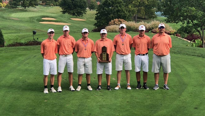 The Ryle golf team includes, from left: Luke Herbst, Jake Tarvin, Tim Alexander, Justin Paoletti, Ryan Clements, Lincoln Herbst and coach John Kells.