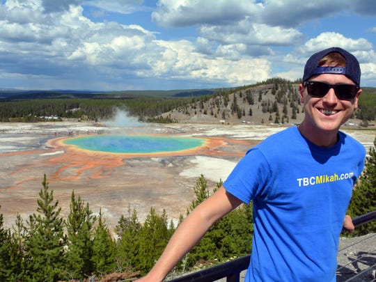 MIkah Meyer stopped at Yellow Stone National Park as part of his 417 world record adventure