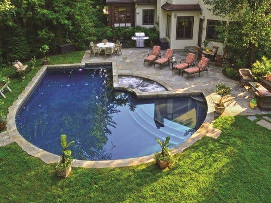 Teaneck backyard designed by Mike Hartnett of B&B Pool and Spa Center