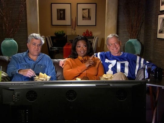 "Jay Leno, Oprah Winfrey and Letterman appeared in a 2007 ""Late Show"" promo during the Super Bowl."