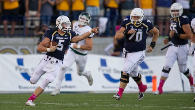Oregon quarterback Dakota Prukop competes in a game with his former team, Montana State.