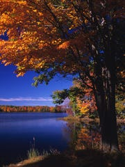 Fall colors surround the Chippewa River at Brunet Island