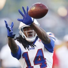 Buffalo Bills rookie wide receiver Sammy Watkins (14) left Saturday's 19-16 loss at Pittsburgh early with what the team described as bruised ribs.
