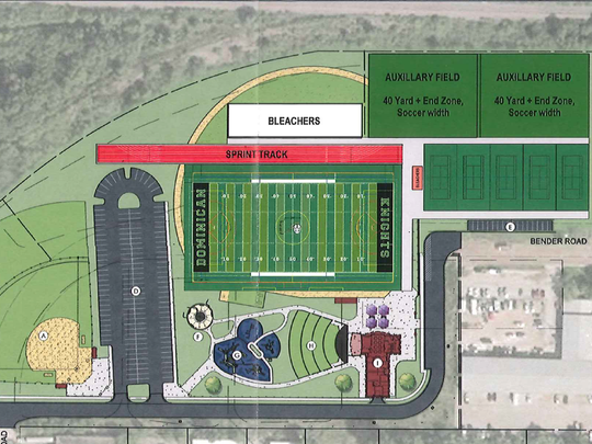Dominican High wants to build a football field with a press box and bleachers, as well as a softball field, sprint track, five asphalt tennis courts and two auxiliary fields at Richard E. Maslowski Glendale Community Park.