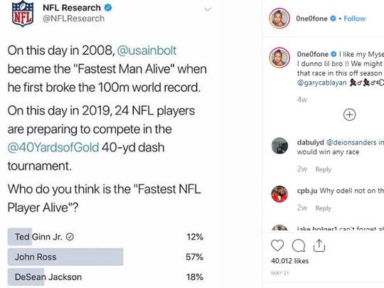 DeSean Jackson, Bengals Johns Ross could finally settle their own debate about NFL's fastest man