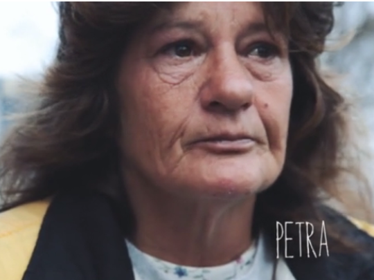 This is a screenshot from a 2015 documentary made by photographer Randy Bacon. The documentary featured homeless woman Petra Hensler. Hensler died Saturday.
