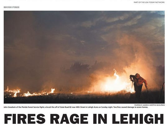 A consultant to the Lehigh Acres Fire Control and Rescue District distributed a copy of this from page from The New-Press on wildfires the area as he made recommendations  on district improvements a few years ago.