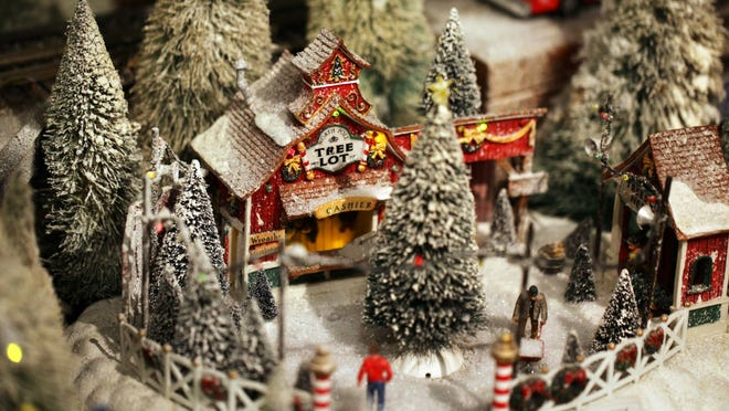 Duke Energy Holiday Trains are on display.